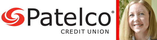 Collage of the Patelco Credit Union Logo and a Photo of Michelle Anderson