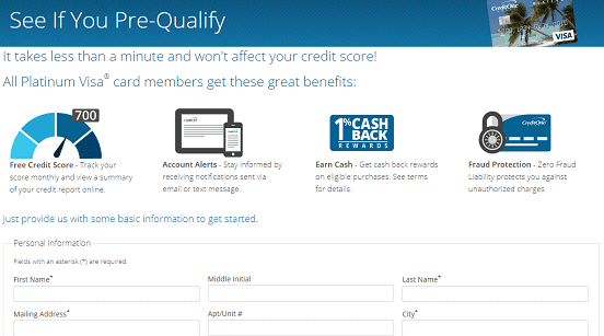 Screenshot of Credit One Pre-Qualify Page