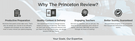 screenshot of princeton review homepage