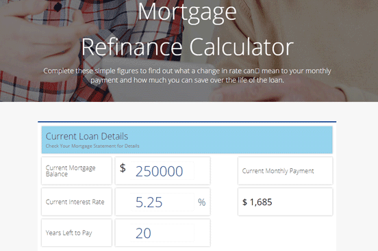 Screenshot of the Mortgage Refinance Calculator