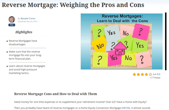 Screenshot of an article on reverse mortgage