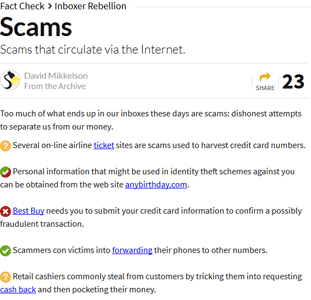 Screenshot of Snopes.com Scams Page
