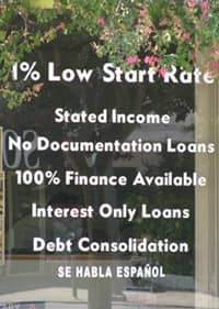 Subprime mortgage crisis sign