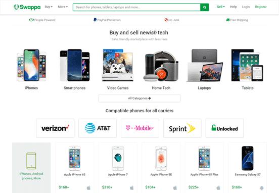 Screenshot of the Swappa Homepage