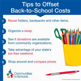 Graphic from Communities In School on savings tips for back to school