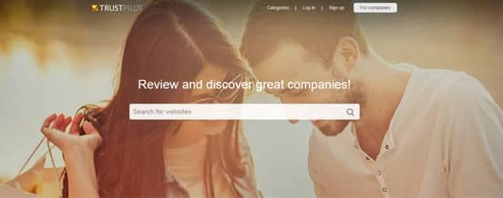 Screenshot of the Trustpilot Homepage