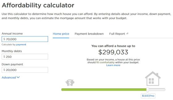 Screenshot of Zillow's Affordability Calculator