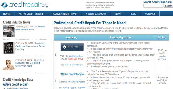 Screenshot of CreditRepair.org