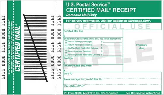 Photo of Certified Mail Receipt