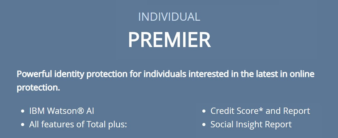 Screenshot of Individual Premier features