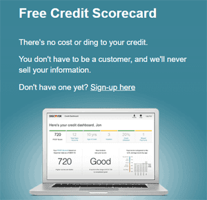 Screenshot of Discover's Free Credit Scorecard Page