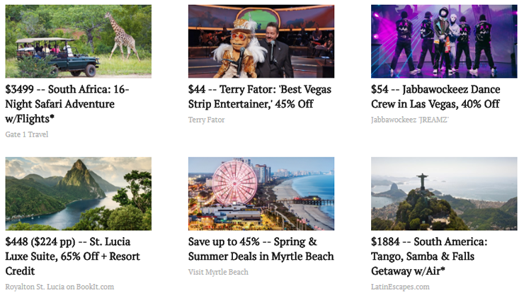 A screenshot of travel deals on JohnnyJet.com