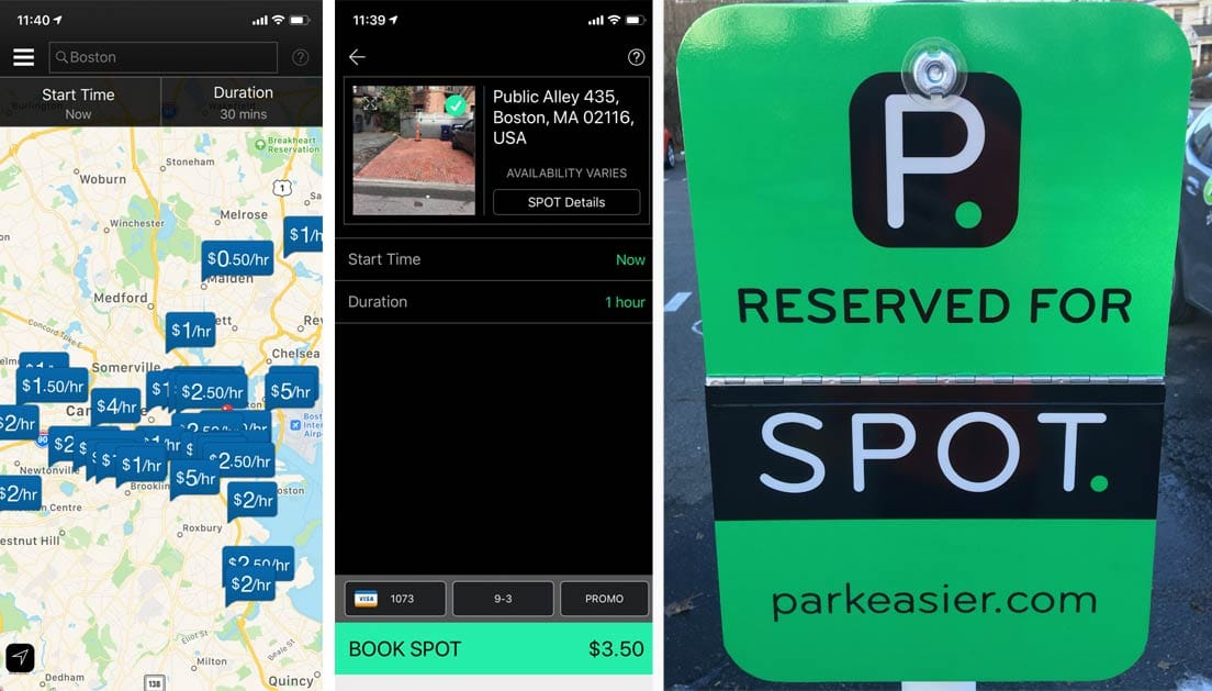 Screenshots of SPOT app and parking sign