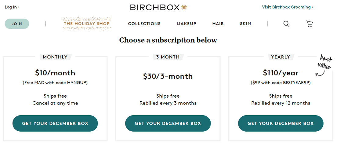 Screenshot of BirchBox Subscription Options