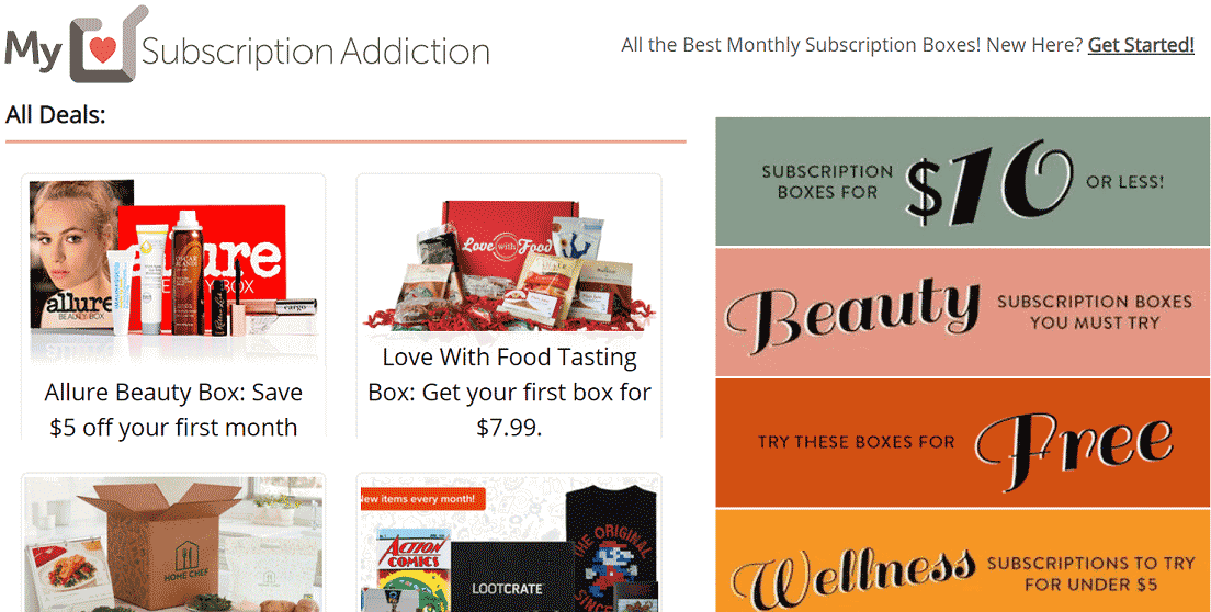 Screenshot of MySubscriptionAddiction.com Coupons Page