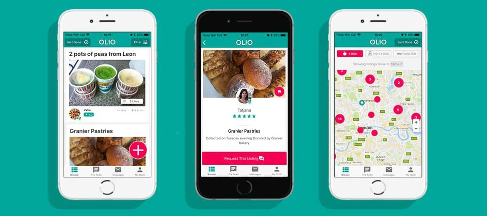 Screenshots of OLIO app on mobile devices