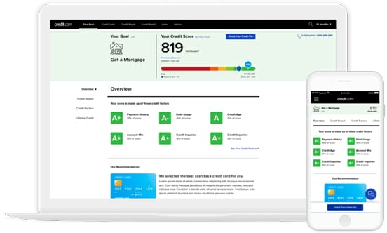 Screenshots of credit report card on laptop and mobile device