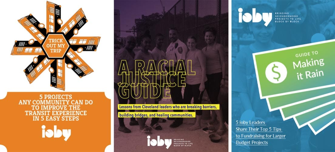 Screenshot of ioby guide covers