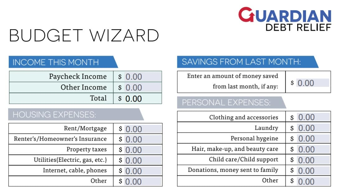 Screenshot of Guardian Debt Relief budget calculator