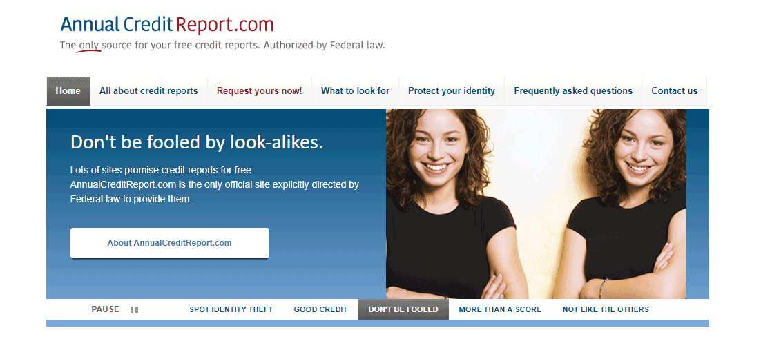 Screenshot of the annualcreditreport.com homepage
