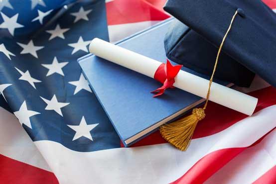 Diploma and American Flag Photo