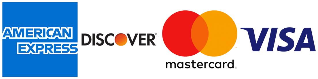 Amex, Discover, Mastercard & Visa Logos