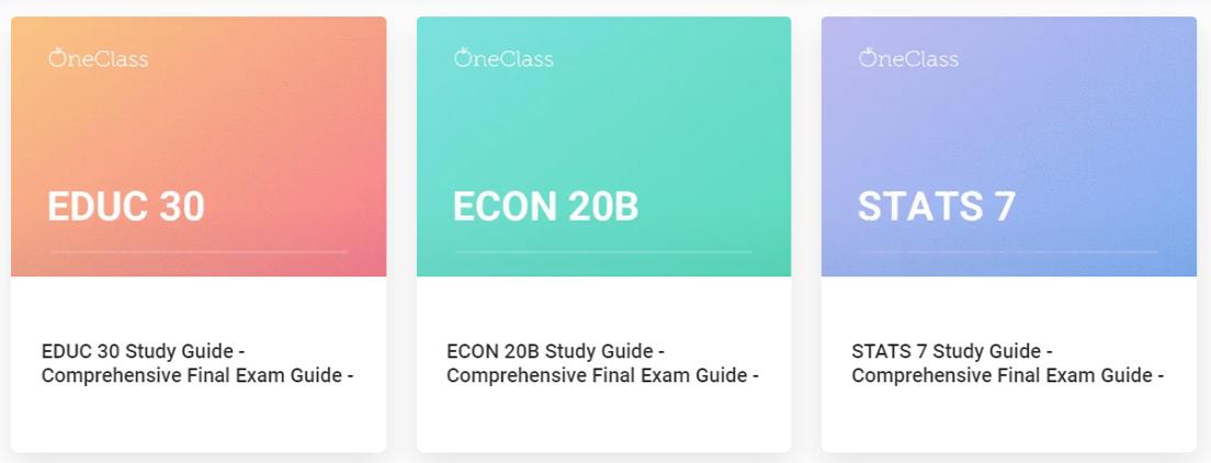 Screenshot of OneClass final exam study guides