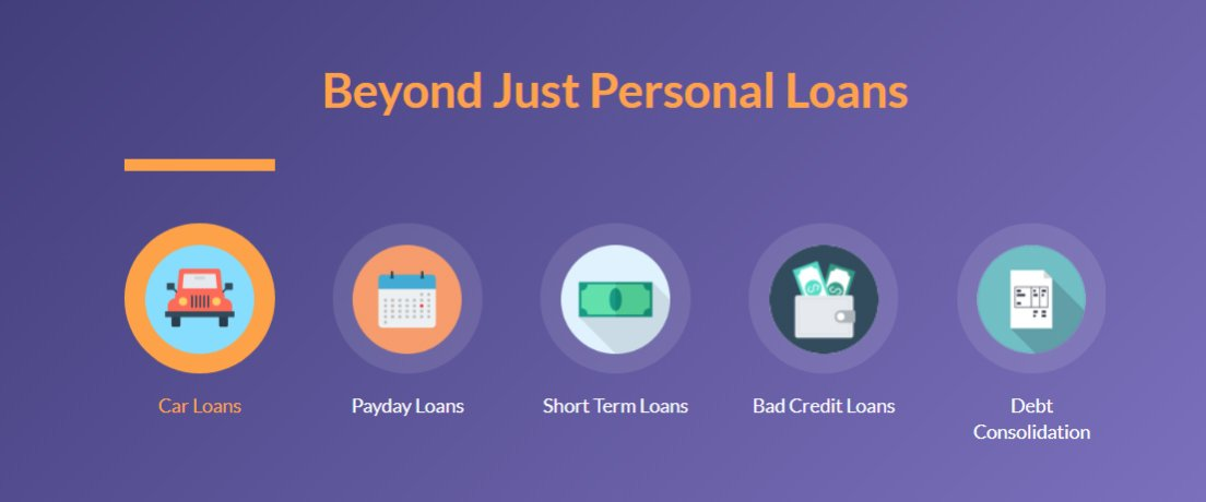 Screenshot of Loans Canada categories
