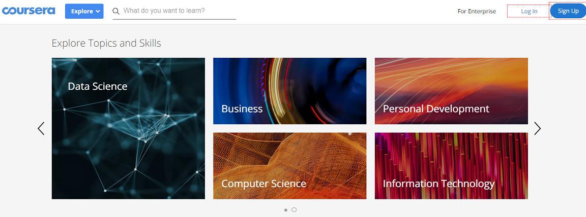 Screenshot of Coursera Topics