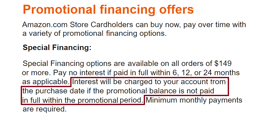 Screenshot of Amazon.com Store Card Deferred Interest Page