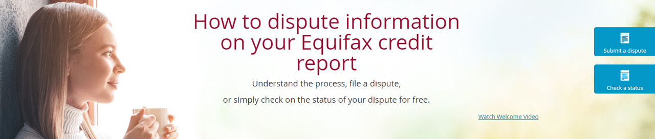 Screenshot of the Equifax personal dispute page