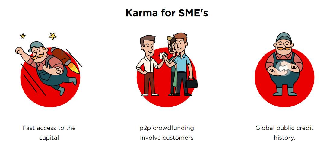 Screenshot of Karma's benefits for entrepreneurs