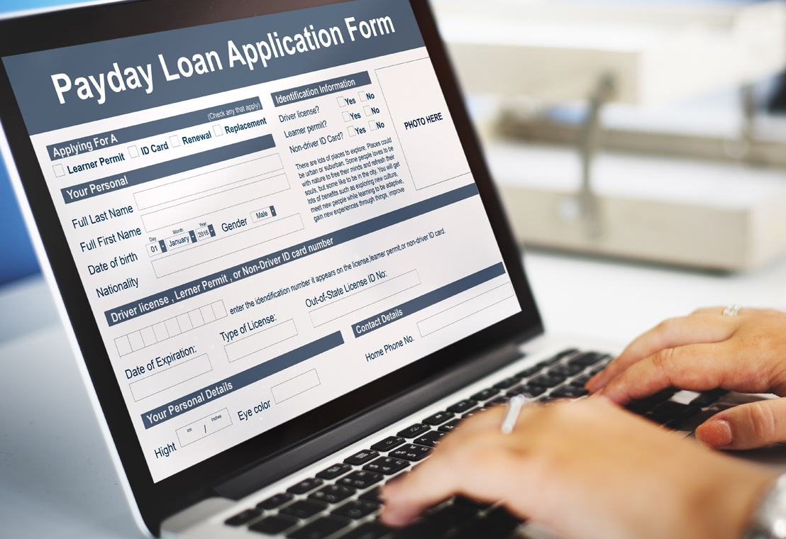 Stock photo of an online payday loan application