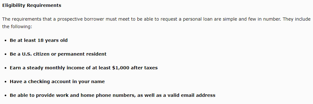 Screenshot of the basic eligibility requirements from the CashUSA.com website