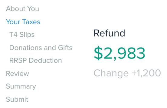 Screenshot of SimpleTax example refund