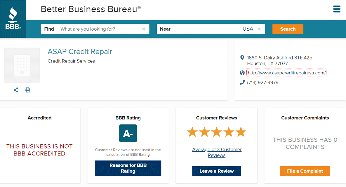 Screenshot of ASAP Credit Repair BBB Page