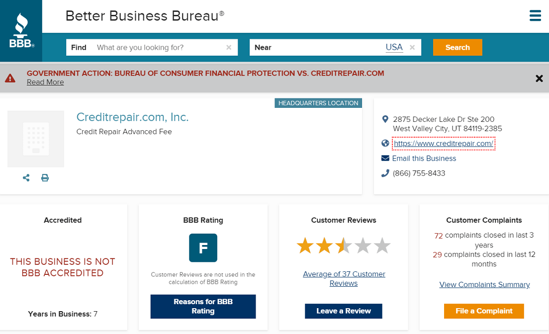 Screenshot of CreditRepair.com BBB Page