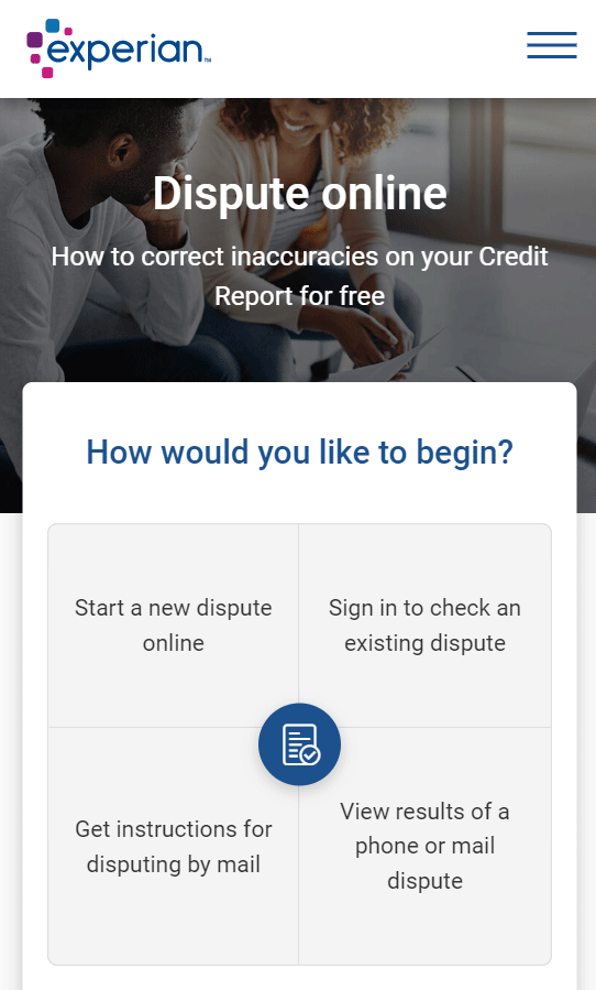 Screenshot of Experian Online Dispute