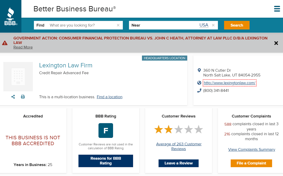 Screenshot of Lexington Law BBB Page