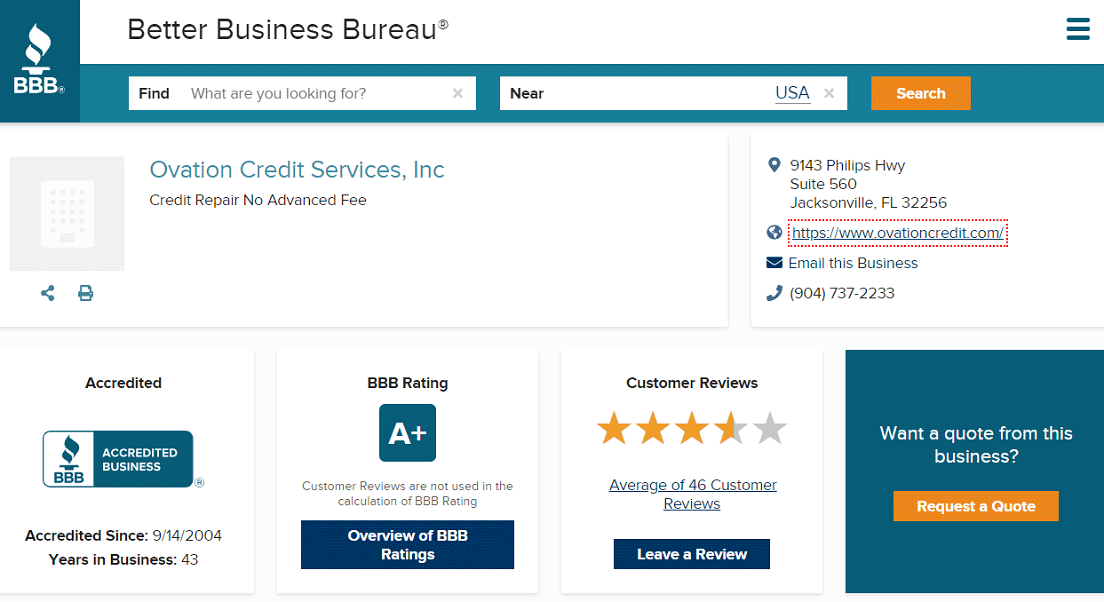 Screenshot of Ovation Credit Repair BBB Page