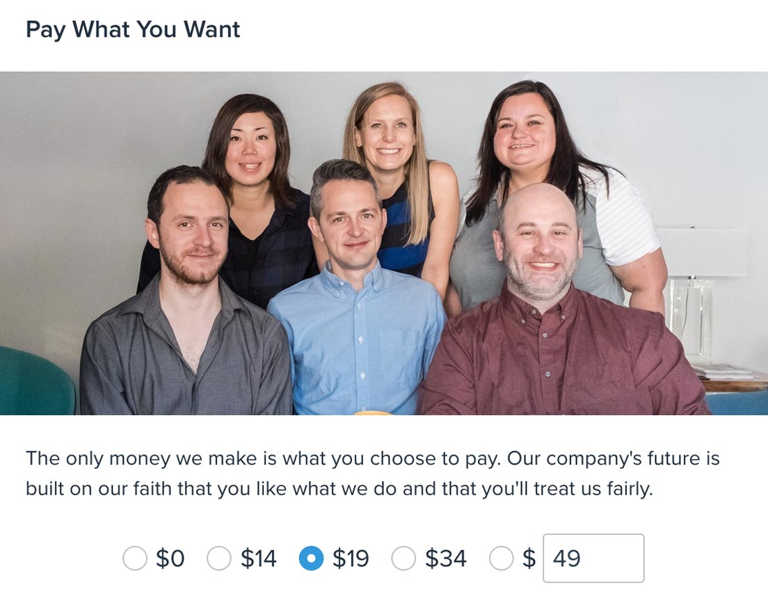 Screenshot of Pay What You Want page
