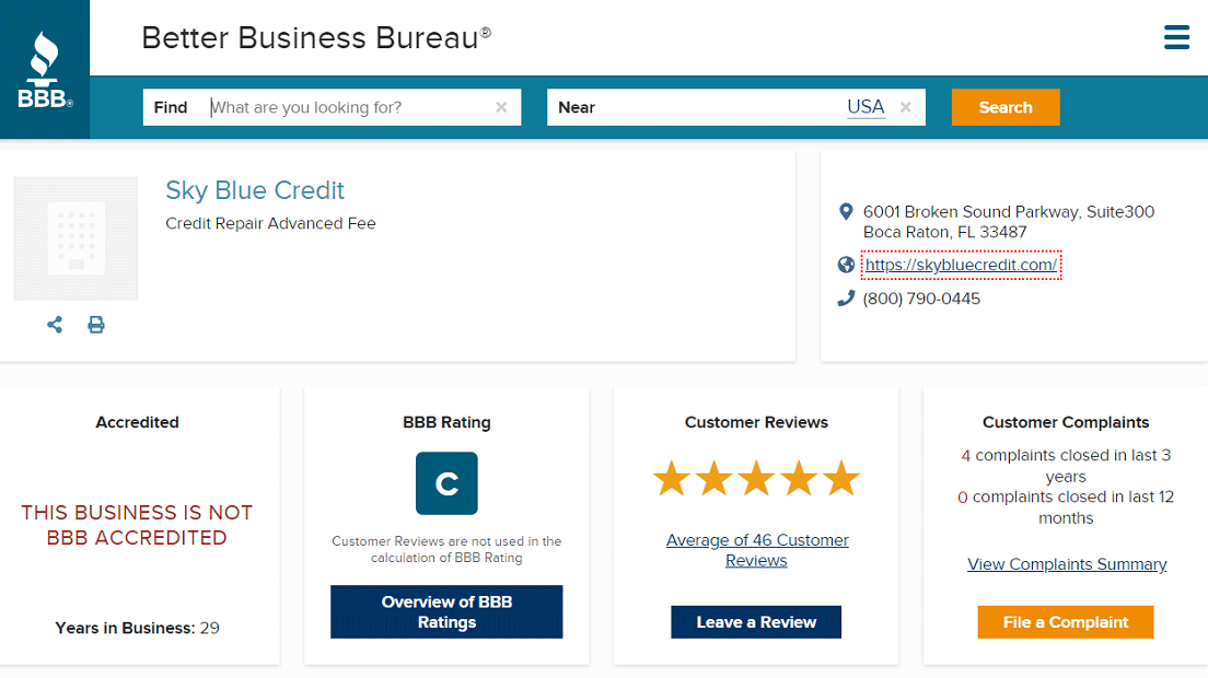 Screenshot of Sky Blue Credit Repair BBB Page