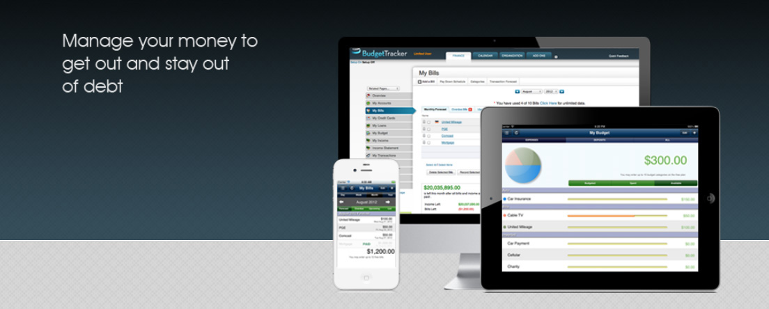 Screenshot of BudgetTracker web app