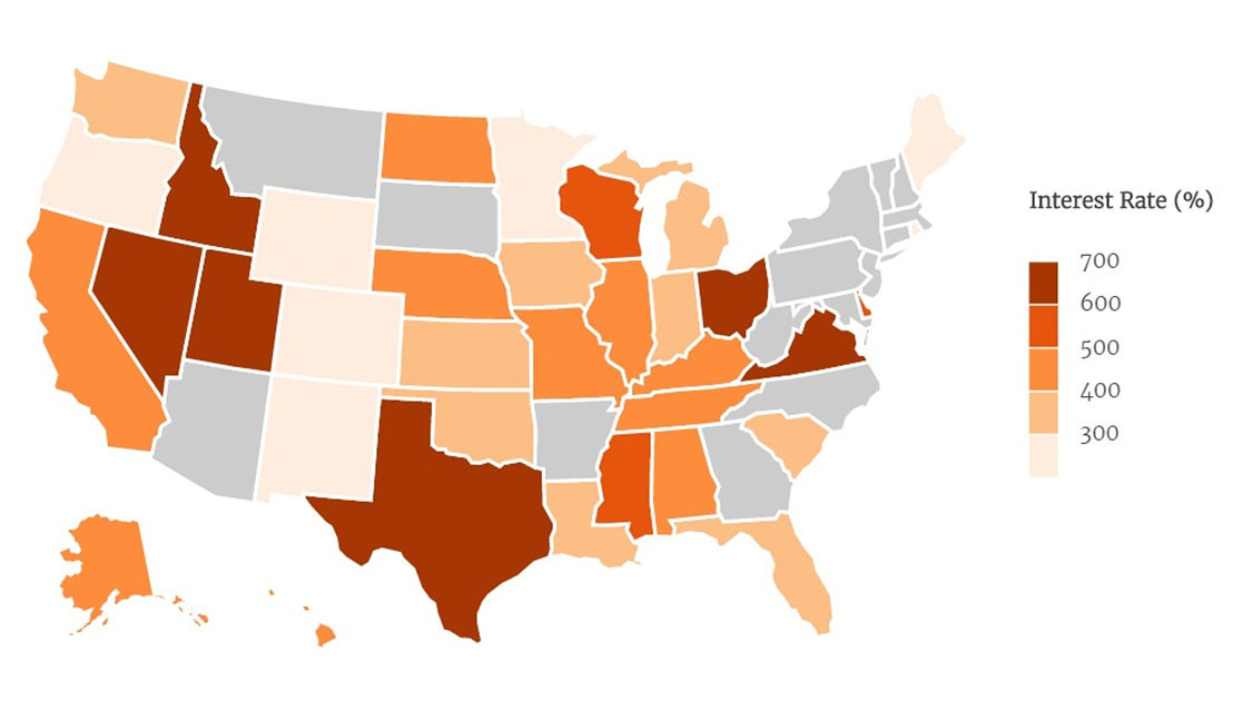 Map Showing States Where Payday Loans Charge the Most Interest