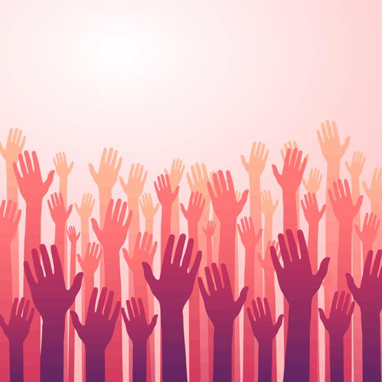 Raising Hands Graphic