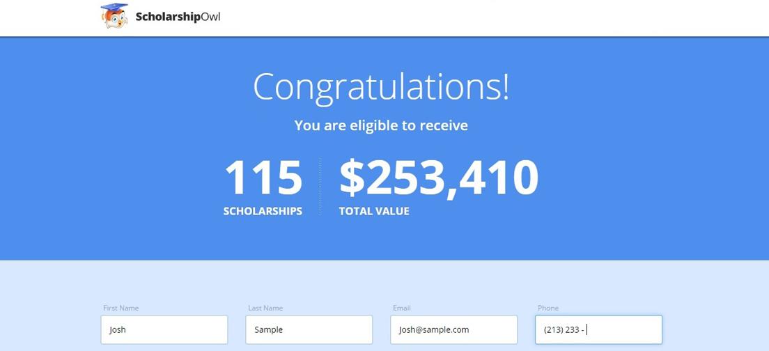 Screenshot of ScholarshipOwl scholarship page