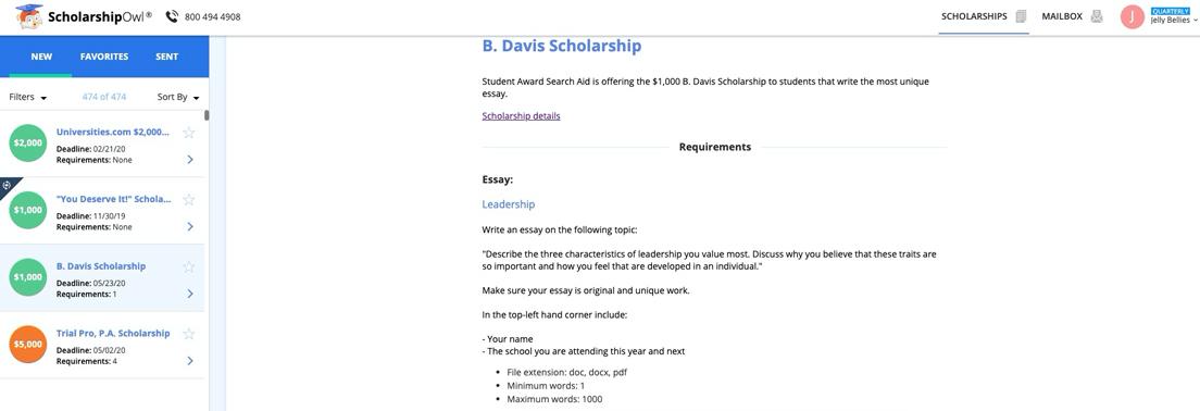Screenshot of ScholarshipOwl application process