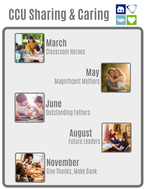 Consumers Credit Union Caring & Sharing schedule