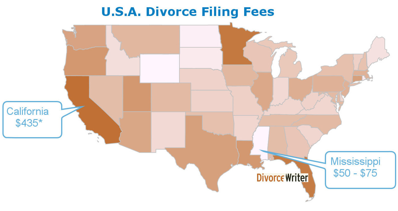 Map of the Average Divorce Filing Fees in America