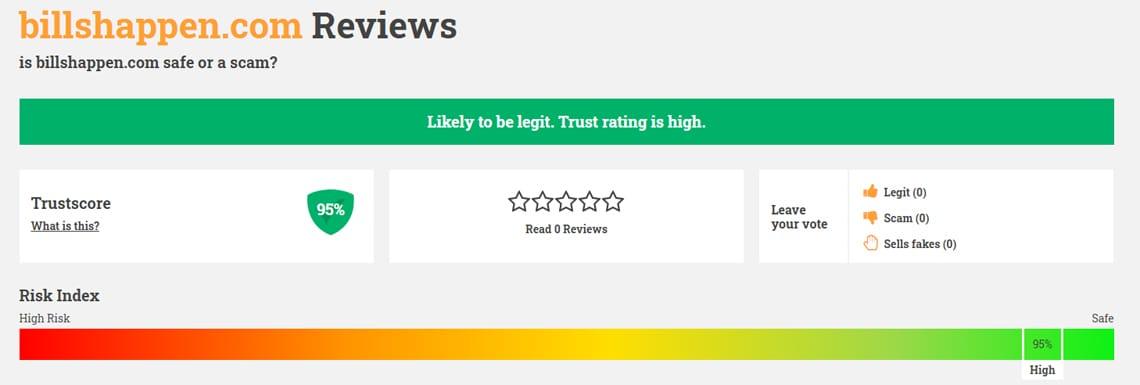 BillsHappen Review on ScamAdvisor